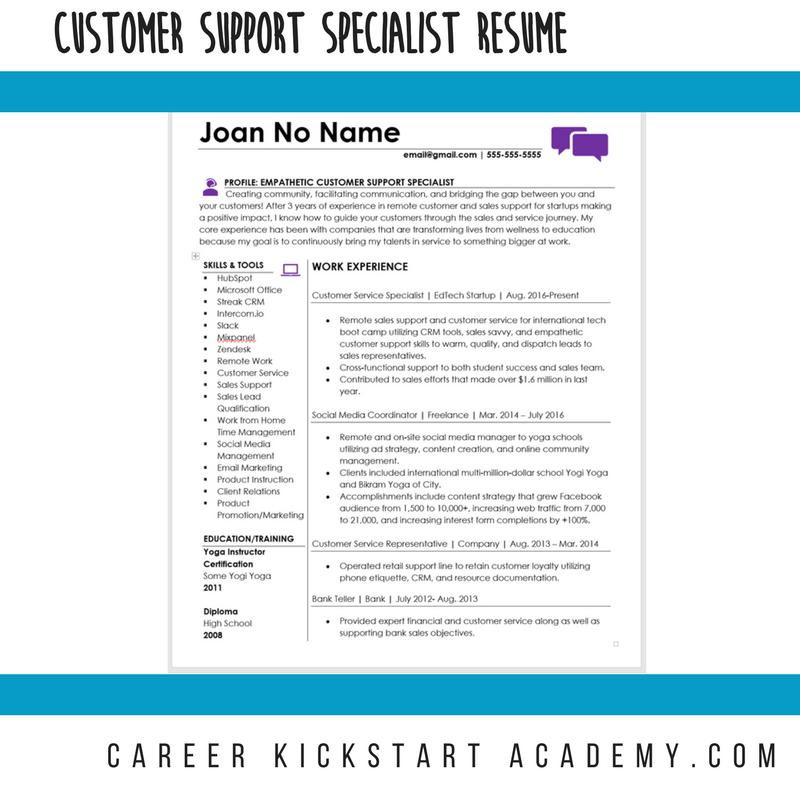 Customer Support Representative Resume Career Kickstart Academy